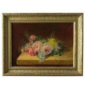 """""""Roses sur la table"""" Ancien tableau français, huile sur toile"""