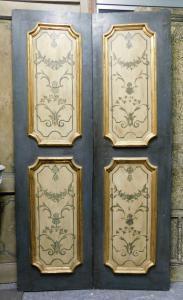 ptl548 - porte peinte à quatre panneaux, XVIIIe siècle, cm l 117 xh 212