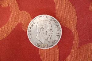 Pièce de collection en argent Royaume d'Italie 5 lire Vittorio Emanuele II 1872 euro 35.00