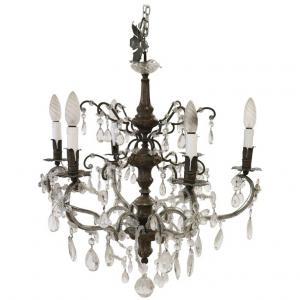 Lustre ancien six lumières en bronze et gouttes et cristaux Svarovski diamètre 64 euro 800.00 négociable