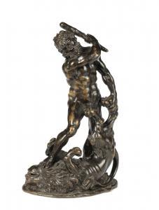 Sculpteur italien, fin du XVIIe siècle, Hercule et le lion de Némée, bronze.