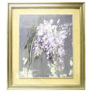 """Peinture à l'huile sur toile Giancarlo Cazzaniga (1930-2013) """"Glicine"""" PRIX NÉGOCIABLE"""