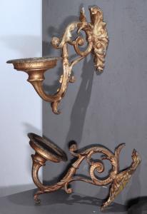 Paire d'appliques dorées, Toscane, XIXe siècle