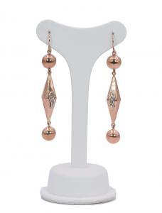 Boucles d'oreilles en or 14 carats et diamants des années 40