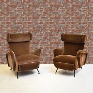 Paire de fauteuils inclinables en velours, années 1950, Paire de fauteuils inclinables en velours