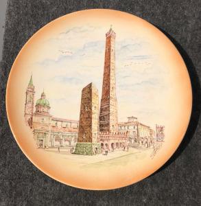 Assiette en faïence représentant les deux tours de Bologne