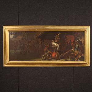 Tableau italien signé Mattia Traverso scène populaire