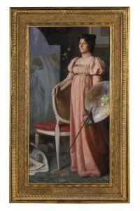 ANGELO VERNAZZA Portrait de sa femme qui peint