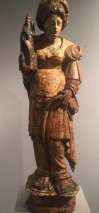 "Sculpture en bois polychrome ""Santa Barbara"" zone flamande fin XVIe siècle"