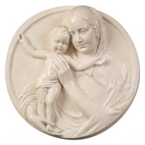 Céramique haut relief Vierge à l'enfant - O / 4832