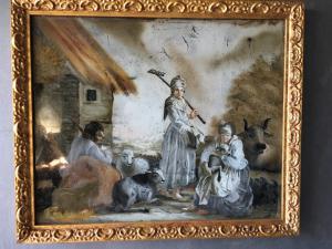 Peinture sur verre représentant une scène bucolique avec des personnages à la manière de la période Londonio Louis XVI