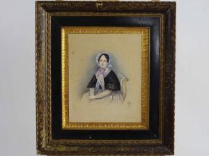 Figure féminine assise, aquarelle sur papier, XIVe siècle