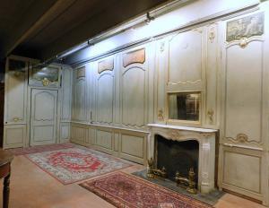 darb165 - Boiserie en bois laqué du XVIIIe siècle avec peintures, mh 3,24 xl 20