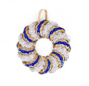 Pendentif vintage en or 18 carats avec diamants et émaux bleus, années 70