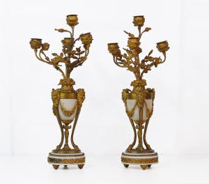 Paire de candélabres en bronze et marbre - CA / 1191