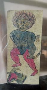 Peint sur parchemin avec inscriptions 17 x 7 cm