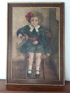 Portrait d'une jeune fille du début des années 1900 avec un cadre signé en basse garantie conformément à la loi