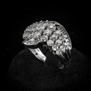Bague bande avec diamants 2 ct.