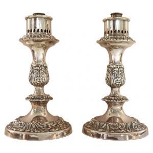 Paire de candélabres en métal argenté PRIX NÉGOCIABLE