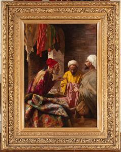 """Tableau orientaliste """"Le marchand de tapis"""""""