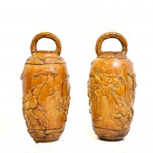 Paire de grands vases décorés par Umberto Ghersi, Paire de grands vases décorés par Umberto Ghersi