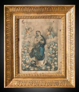"""Tableau ancien """"Aquarelle représentant l'Immaculée"""", Naples 19ème siècle."""