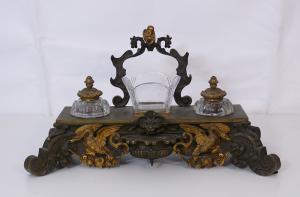 Encrier en bronze et cristal - CA / 1163