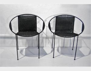 Chaise en fer, assise et dossier tissés Art 1707A