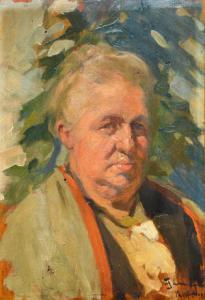 """""""Portrait d'une vieille femme"""" - Huile sur panneau de Filippo Omegna, Huile sur panneau de Filippo Omegna"""