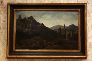 Peinture à l'huile sur toile avec cadre du 19ème siècle