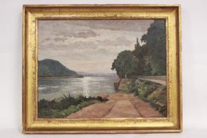 Peinture à l'huile sur toile de paysage lacustre, signée M. Bergeron