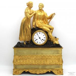 Pendule Antique Charles X (Restauration) h 55 en bronze doré - époque 800