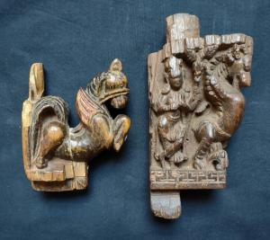 Superbe paire de frises indiennes sculptées avec un grand savoir-faire du 18ème siècle