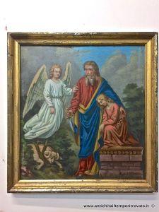 Peinture à l'huile allemande du 19ème siècle sur une plaque de métal: le sacrifice d'Isaac