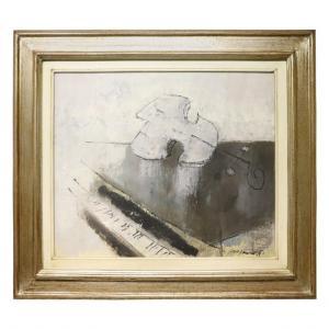 Peinture à l'huile sur toile Franco Rognoni (1913-1999) «Suonata a Kreutzer» PRIX NÉGOCIABLE