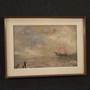 Tableau italien marine de style impressionniste