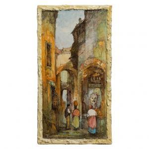 Panneau en céramique italienne peint avec paysage ligure