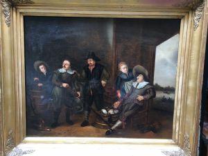 Peinture à l'huile sur toile représentant une scène de chasseurs Ecole flamande fin XVIIIe siècle