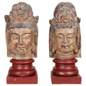 Paire de sculptures en bois polychrome