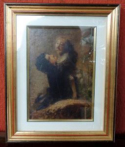 Peinture à l'huile de Daniele Ranzoni 16 x 26 cm