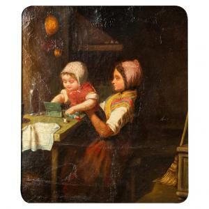 Rare tableau ancien avec enfants jouant - O / 6504 -