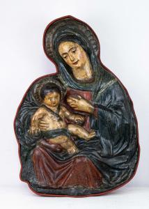Madonna del latte, stucco policromo del XVIII secolo