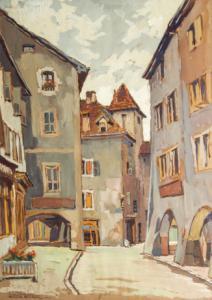 """""""Annecy, Rue Perrière"""" - Tempera sur papier de René Carel, Tempera sur papier de René Carel"""