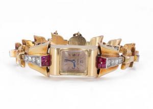 Montre-bracelet Lady Jaeger en or 18 carats avec diamants (1,80 ct) et rubis, années 30