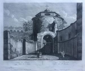 """""""Temple de Romulus"""" - burin gravure - début du 19ème siècle"""