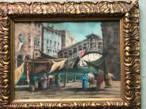 Peinture au pastel représentant une scène de Venise. Luigi Zago. (Villafranca 1894-Mendoza 1952)