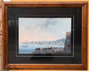 peinture à la gouache (aquarelle) représentant le golfe de Naples, avec Castel dell'Ovo et Certosa di San Martino.
