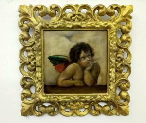 Peinture à l'huile sur support rigide représentant Putto