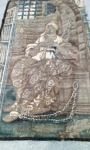Tapisserie en laine et soie, représentant la reine Zénobie, vers 1680, Aubusson, France, 198 x 108 cm