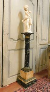 dars395 - colonne en marbre vert des Alpes et laiton, cm l 30 xh 111